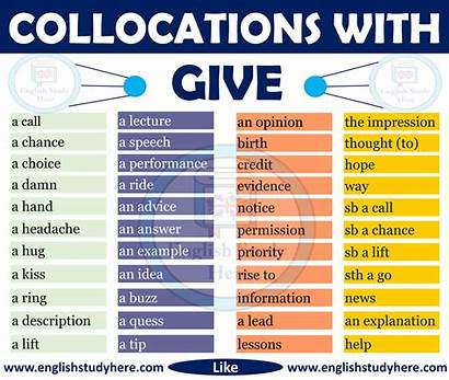 English Give Collocations Collocation Adverbs Study Words