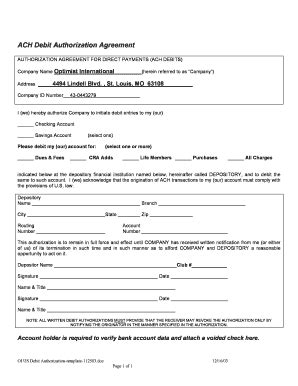 ach debit authorization agreement fill  printable