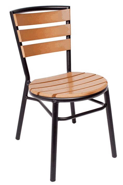 outdoor black powder coated aluminum stacking side chair w