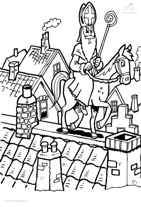 Kleurplaat Zwarte Piet Op Het Dak by Kleurplaat Sinterklaas Op Het Dak