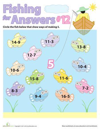 fishing  math fact families   colorful