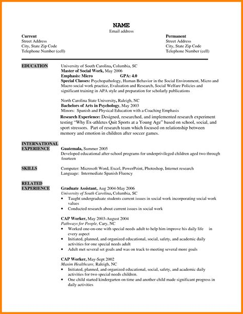 resume format sample  student world  reference