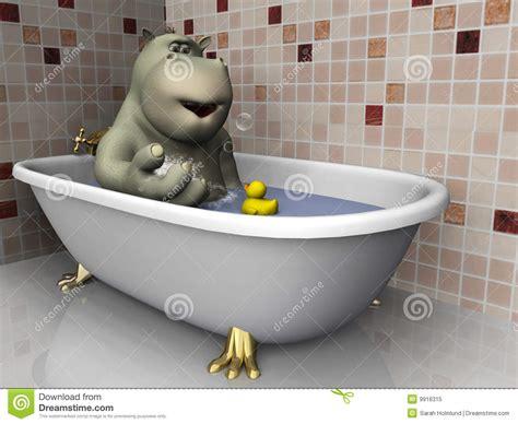 hippopotame de dessin anim 233 de baignoire illustration stock image 9916315