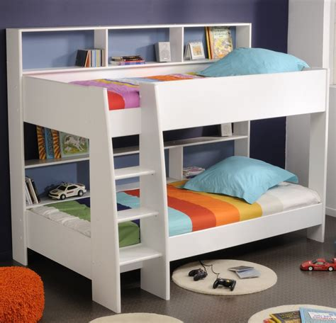bunk bed scenic brown wooden bunk beds white bed linen and