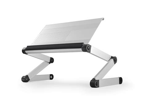 Silver Workez Standing Desk by Workez Executive Ergonomic Laptop Stand Silver