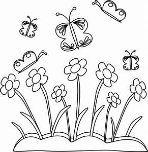 Black and White Spring Flowers and Butterflies Clip Art ...