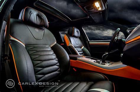 bmw 5 series the ripper custom interior from carlex design orange console carbon fiber grey