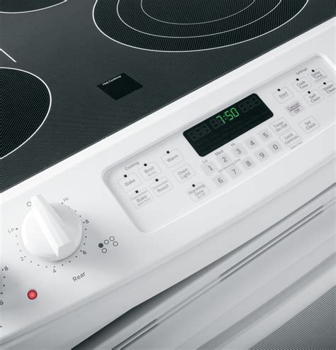 jsdfww ge    front control electric convection range white