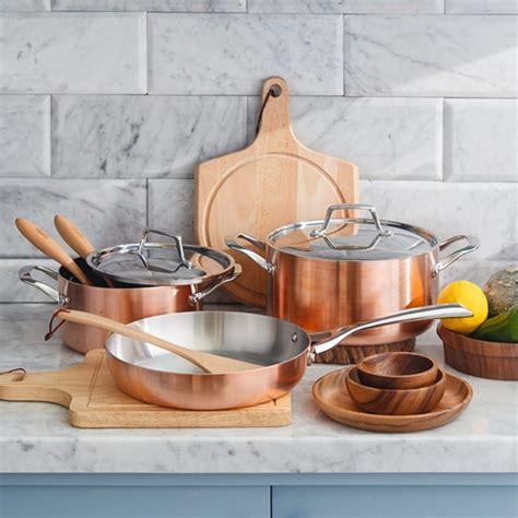 buy lassani tri ply copper cookware set frypan casserole pot lid graysonline australia