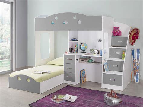 lit à étage avec bureau lit superposé avec rangements et bureau 90x190cm combal