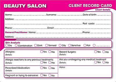 client record card beauty template makeup consultation card saubhaya makeup