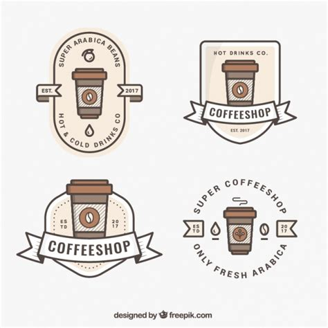 Also you can search for other artwork with our tools. Cute logos for coffee | Free Vector