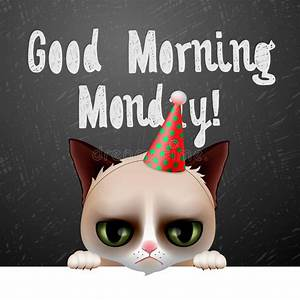 Good Morning Monday, With Cute Grumpy Cat Stock Vector ...
