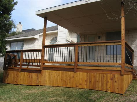 Metal Deck Skirting Ideas by Covered Wood Deck On Mobile Home Home Deck