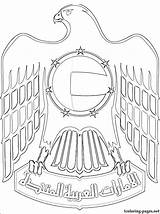 Coloring Pages Emirates Arab United Falcon Uae National Flag Arms Classroom Coat Drawings Sketch Sheikh Colouring Drawing Clipart Creative Dubai sketch template