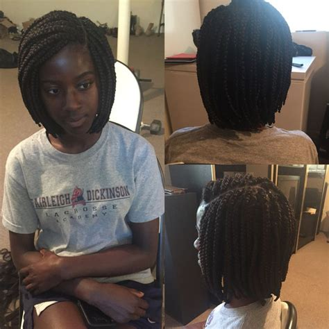 short box braids  side part short natural hair