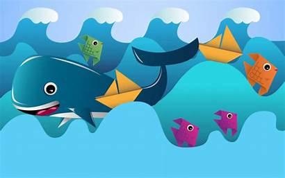 Waves Vector Fish Ocean Premium Boats Illustrations