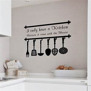 Admirable kitchen with wall quotes decals combined grey for Best brand of paint for kitchen cabinets with hanging canvas wall art
