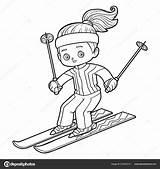 Coloring Skiing Children Vector Savva Ksenya Depositphotos sketch template