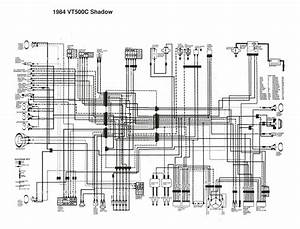 Honda Vt500c Shadow Wiring Diagram   English