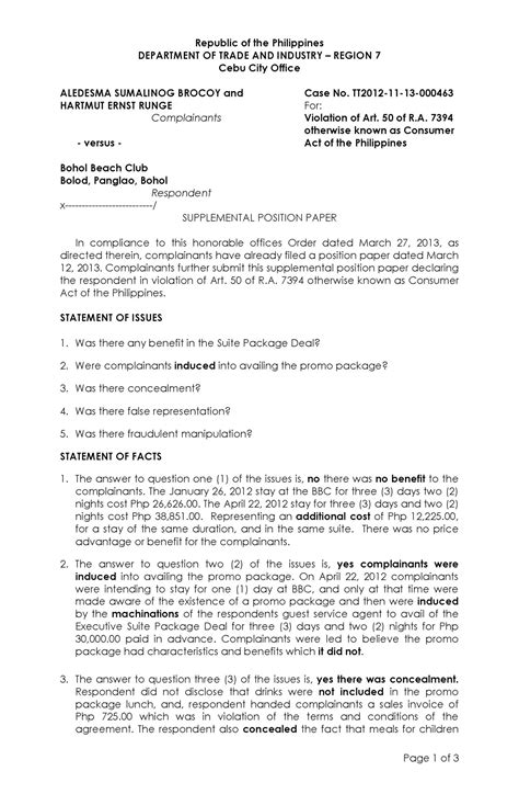 Department of Trade and Industry (DTI) Complaint | estafabohol