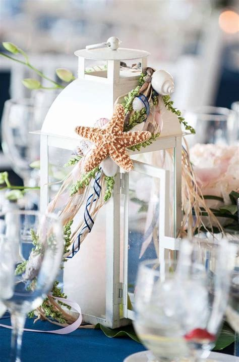 Distressed Beach Themed Wedding Lanterns Centerpieces