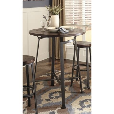 round bar height table ashley challiman round bar height dining table in rustic