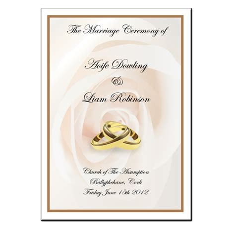 Mass Booklet Templates by Wedding Mass Booklet Colour Cover 1