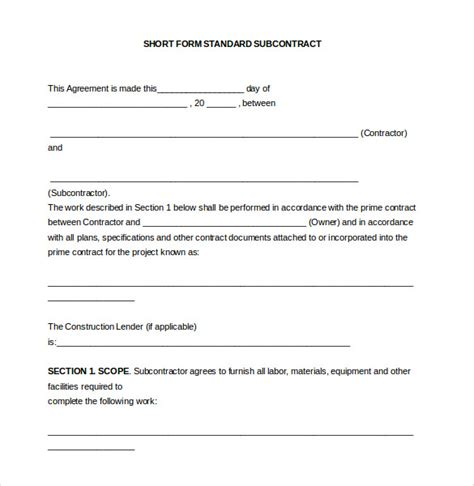 subcontractor agreement templates word  pages