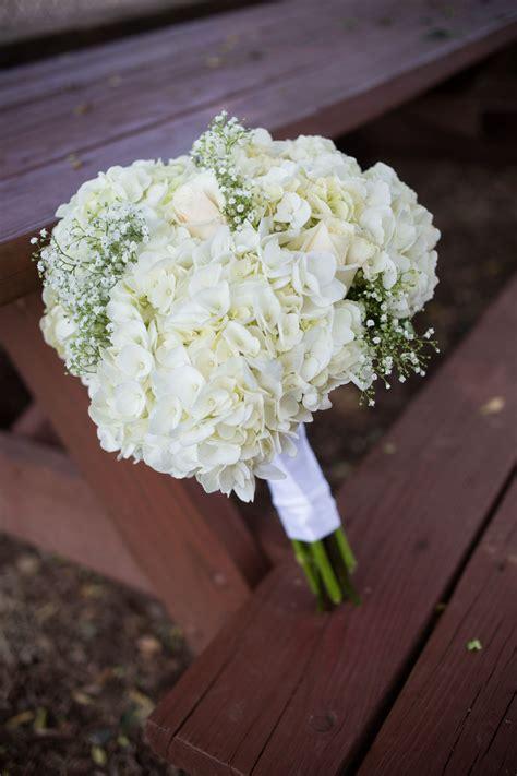 diy white hydrangea  babys breath bouquet wedding
