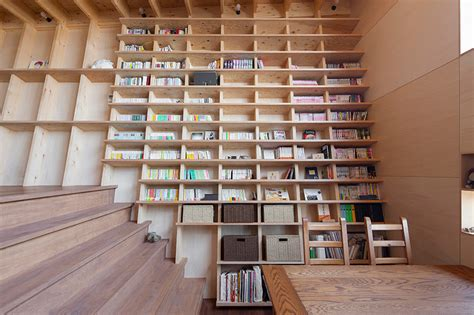 Bookshelf 29 High by Japanese Home Designed Around A Climbable Bookshelf