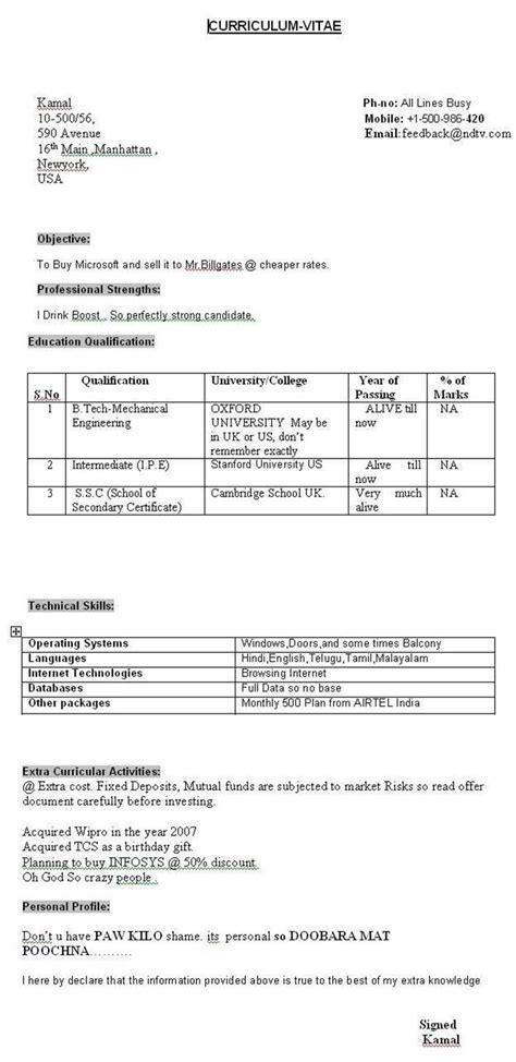 Funniest Resume by A Resume Abhishek Deshpande