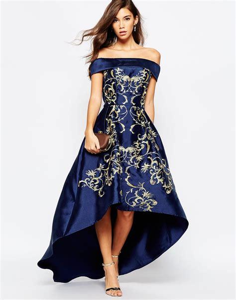 12760 Low Shoulder Flower Dress chi chi shoulder high low dress with baroque