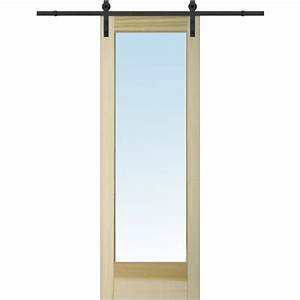 pinecroft 38 in x 97 in glass barn door with sliding With 38 inch barn door