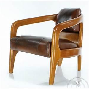 fauteuil bois et cuir design idees de decoration With fauteuil cuir bois design