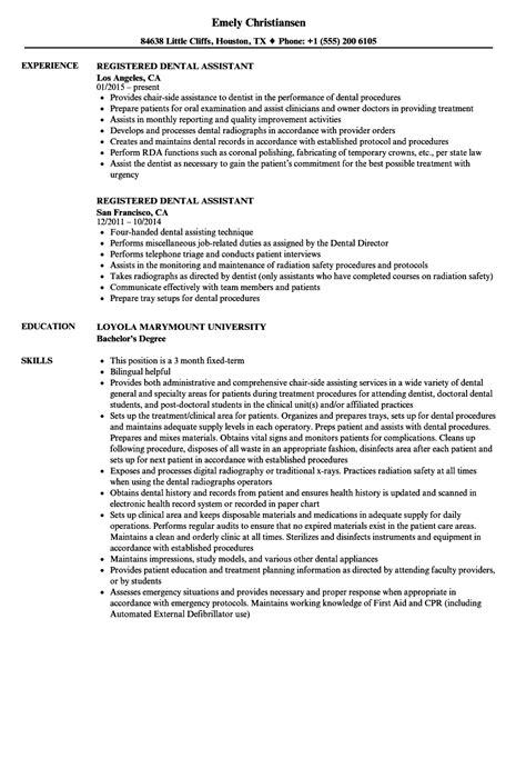 Registered Dental Assistant Resume Samples  Velvet Jobs