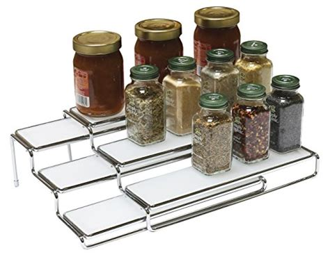 tiered spice racks for kitchen cabinets decobros 3 tier expandable cabinet spice rack step shelf 9463