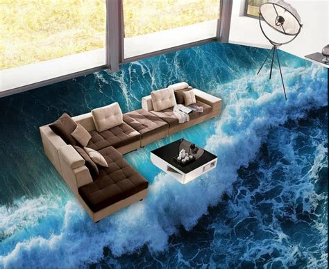 customized wallpaper roll size  floor tiles sea waves