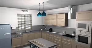 deco cuisine grise et beige exemples d39amenagements With idee deco cuisine avec salle a manger contemporaine grise