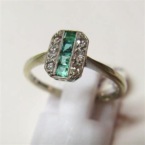 vintage  art deco ct gold  platinum emerald