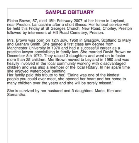 Template For Writing An Obituary by 25 Free Obituary Templates And Sles Free Template