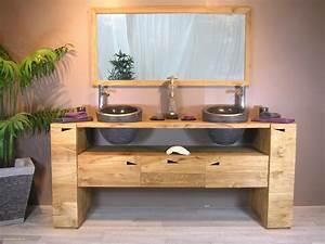 Meuble Vasque Bois Salle De Bain : meuble sous vasque salle de bain en bois meuble salle de bain en teck modele de salle de bain ~ Voncanada.com Idées de Décoration