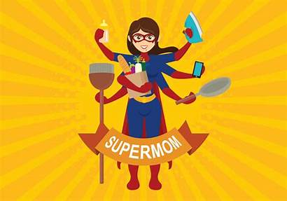 Mom Super Vector Illustration Clipart Woman Mommy