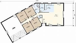 plan maison 4 chambres plain pied gratuit 9 plan maison With plan de maison en v plain pied 4 chambres
