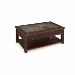 magnussen roanoke wood lift top coffee table in cherry and With wood and slate coffee table