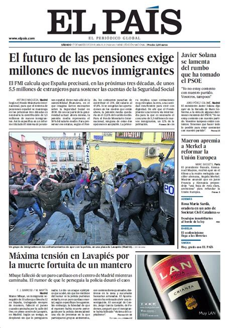 Las portadas de los periódicos de hoy, sábado 17 de marzo ...
