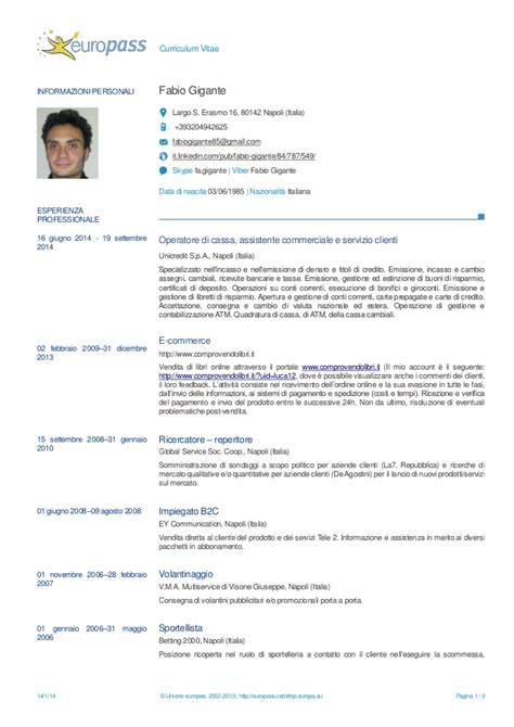 pagina iniziale europass europass curiculum vitae gigante
