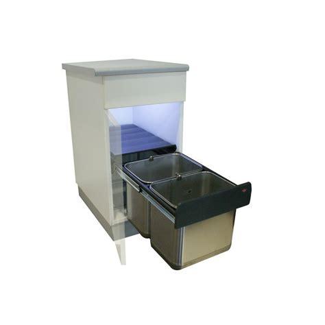 poubelle cuisine coulissante poubelle basse 2 bacs 30l inox