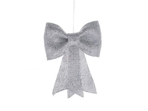 glitzy silver bow christmas decoration 20cm buy trees