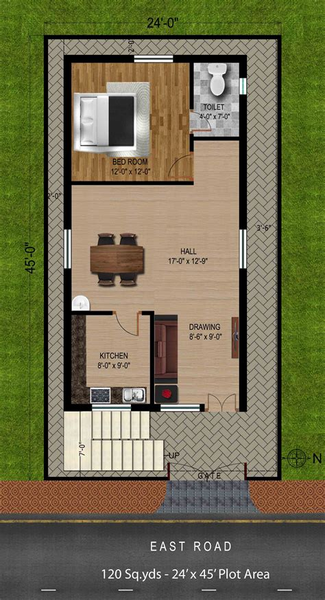 plot plans way2nirman 120 sq yds 24x45 sq ft east house 1bhk